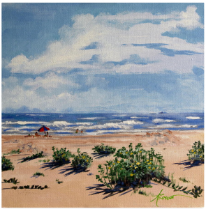 """Beach Scene on Galveston Island"" by Adele Bower"